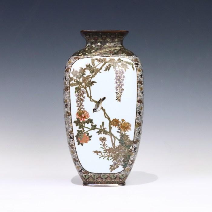 小禽花図七宝花瓶
