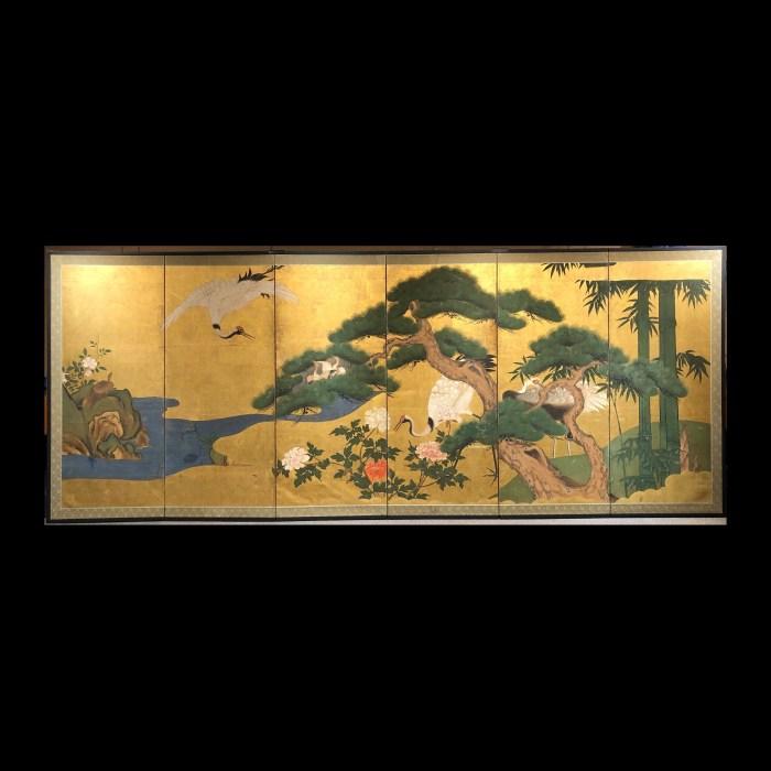 金地 「松竹鶴」図 六曲一隻/6panel screen