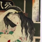 月岡芳年/YOSHITOSHI 「全盛四季夏 根津花やしき 大松楼」三枚続