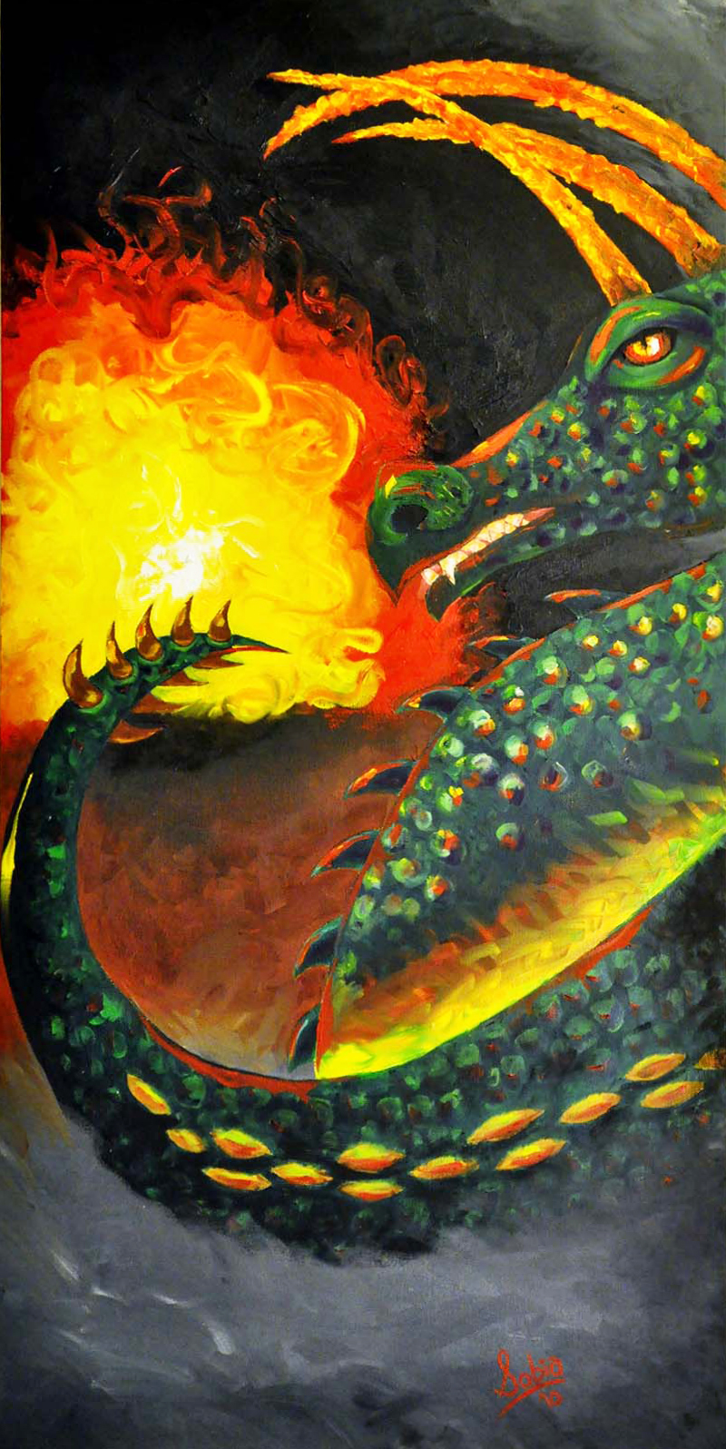 """Sobia Shuaib Dragon Fire 18"""" x 36"""""""
