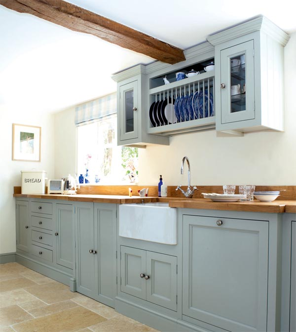 Blue Kitchen With Oak Cabinets: Home Inspiration: Painted Kitchen Cabinets