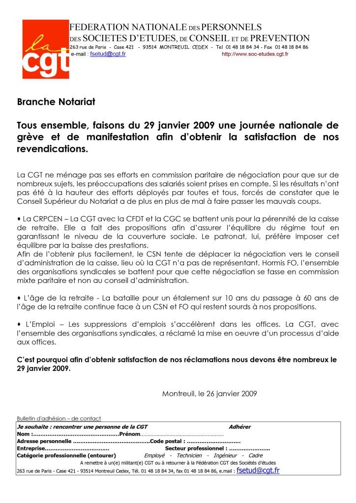 Appel à la grève du 29 janvier dans le notariat