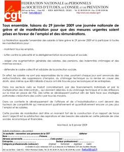 Tous ensemble, faisons du 29 janvier 2009 une journée nationale de grève et de manifestation pour que des mesures urgentes soient prises en faveur de l'emploi et des rémunérations