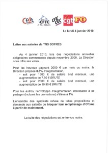 TNS SOFRES : Lettre aux salariés de TNS SOFRES