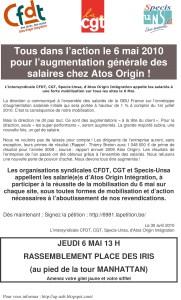 ATOS : Tous dans l'action le 6 mai 2010  pour l'augmentation générale des salaires chez Atos Origin !