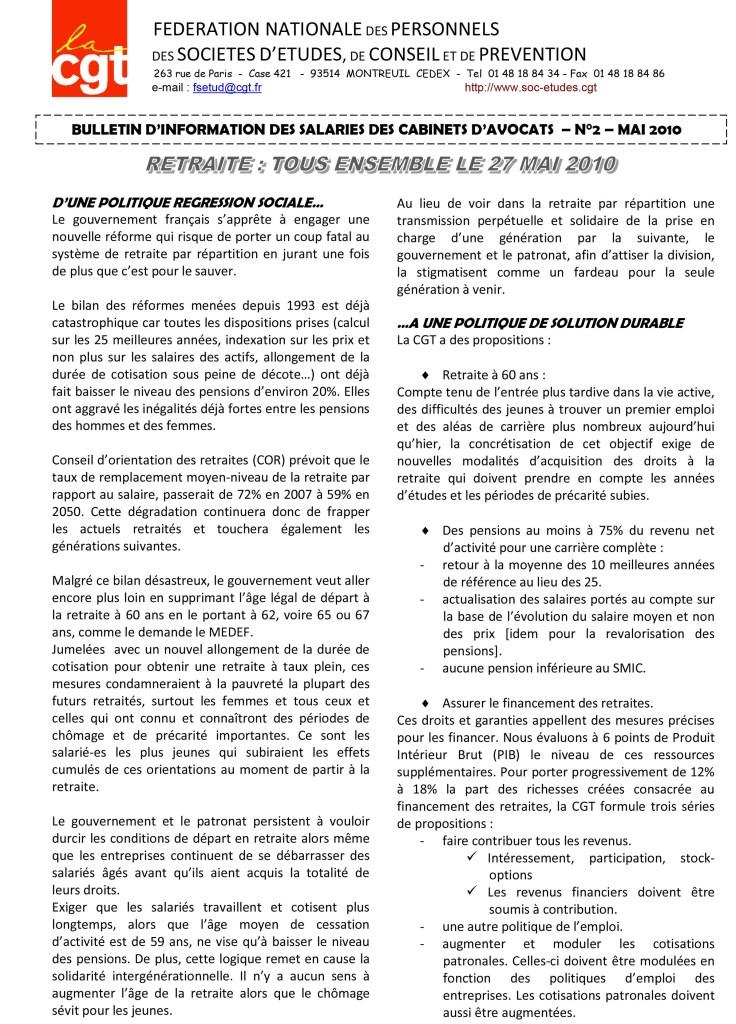 Bulletin d'Information Avocats CGT N°2