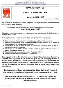EURIWARE : NAO Astreintes – Appel à la mobilisation – Mardi 8 juin 2010
