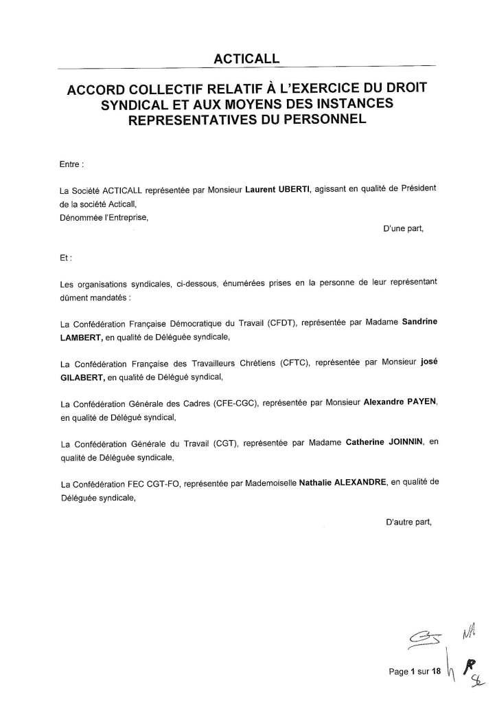 ACTICALL : Accord de droit syndical