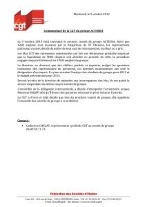 Communiqué de la CGT du groupe ACTISSIA