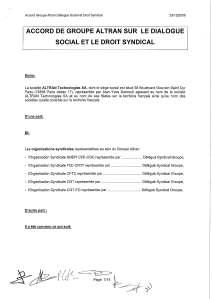 ALTRAN : Accord sur le dialogue social et le droit syndical