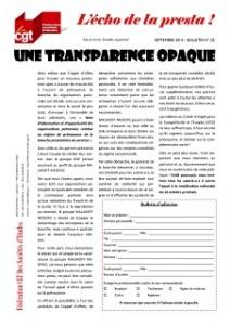 L'écho de la presta n°25 : Une transparence opaque
