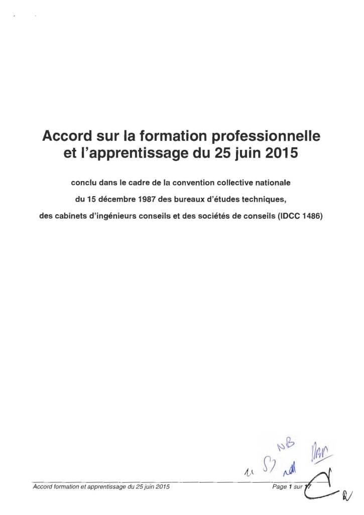 Accord sur la formation professionnelle et l'apprentissage du 25 juin 2015 conclu dans le cadre de la convention collective nationale du 15 décembre 1987 des bureaux d'études techniques, des cabinets d'ingénieurs conseils et des sociétés de conseils