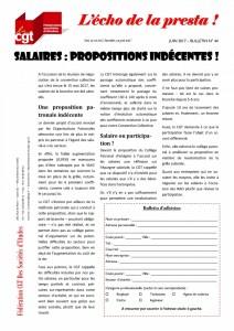 L'écho de la presta n°44 : Salaires : Propositions indécentes !