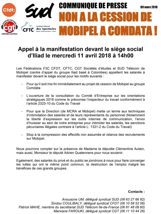 MOBIPEL : Non à la cession de MOBIPEL à COMDATA !