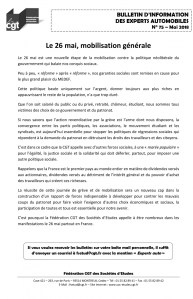 Bulletin d'information CGT n° 75 Experts autos