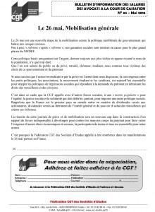 Bulletin n°34 – Mai 2018 – Avocats à la Cour de cassation