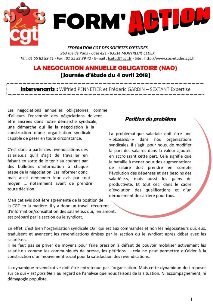 Form'Action avril 2018 : Les Négociations Annuelles Obligatoires (NAO)