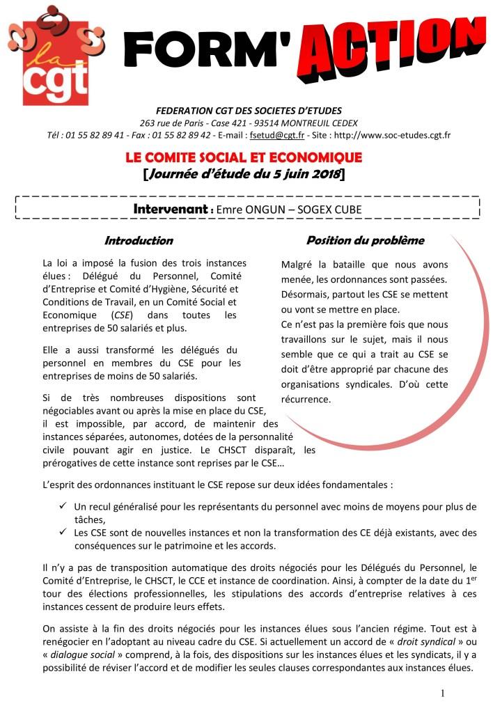Form'Action juin 2018 : Le Comité Social et Economique