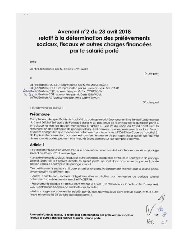 Avenant n°2 du 23 avril 2018 relatif à la détermination des prélèvements sociaux, fiscaux et autres charges financées par le salarié porté