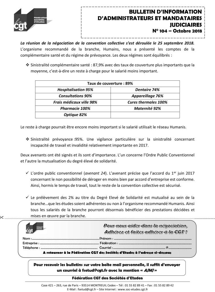 Bulletin d'information CGT Administrateurs Mandataires Judiciaires n°104