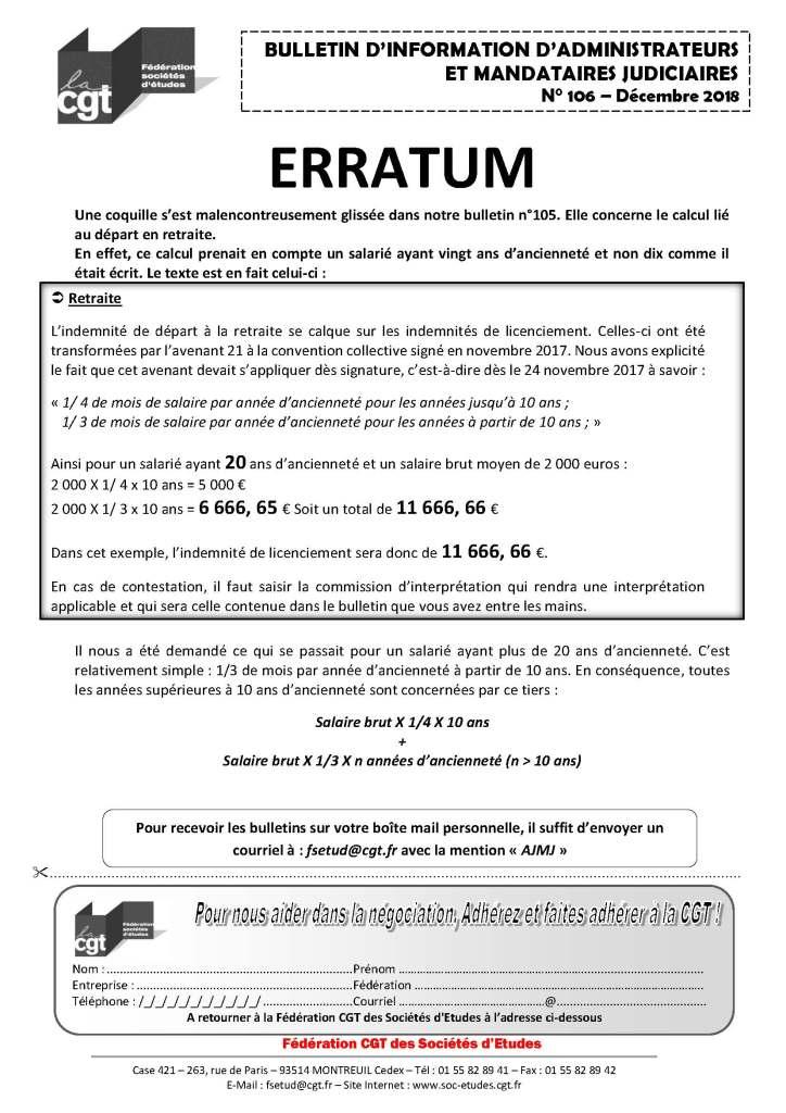 Bulletin d'information CGT Administrateurs Mandataires Judiciaires n°106