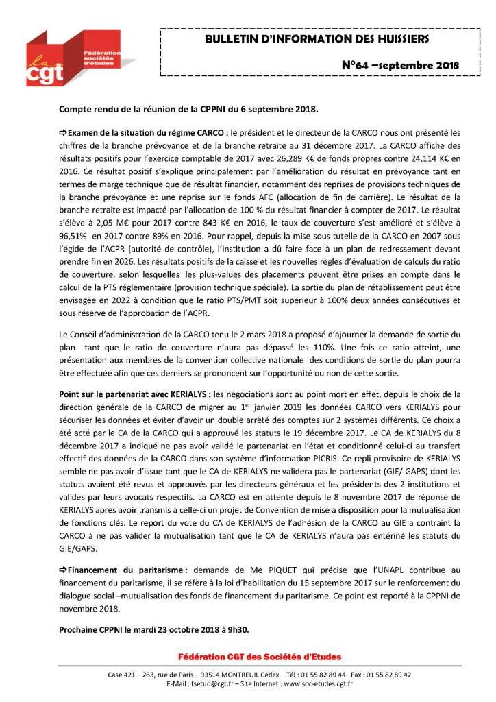 Bulletin d'information CGT Huissiers de justice n°64
