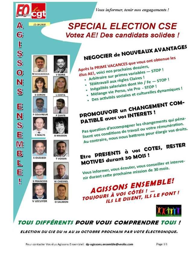 VEOLIA : Spécial élection CSE.Votez AE ! Des candidats solides !
