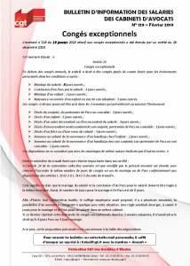 Bulletin d'information des salariés des cabinets d'avocat n°129