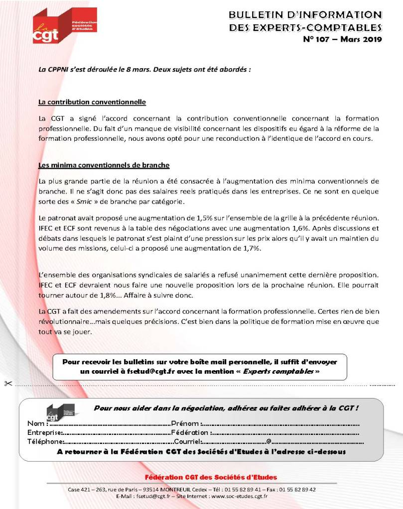 Bulletin d'information CGT Experts Comptables N°107