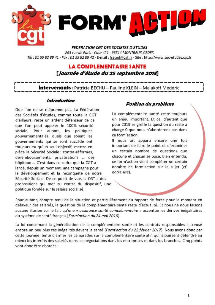 Form'Action septembre 2018 : La complémentaire santé