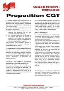 Proposition CGT sur le dialogue social
