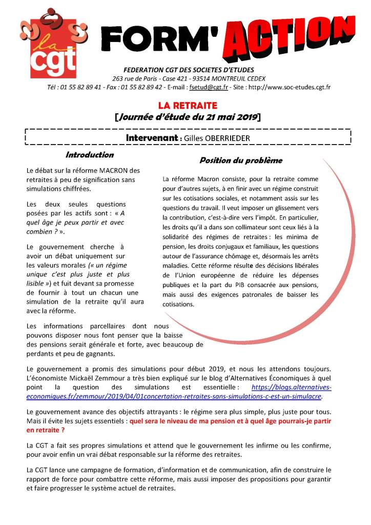 Form'Action mai 2019 : La retraite
