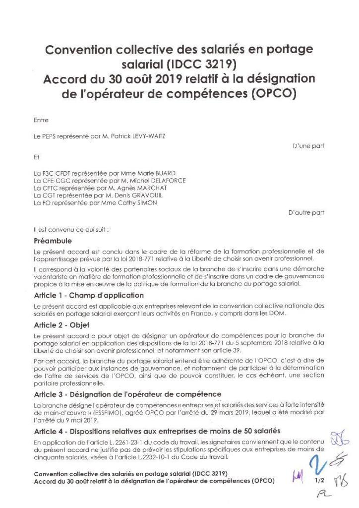 Accord du 30 août 2019 relatif à la désignation de l'opérateur de compétence (OPCO)