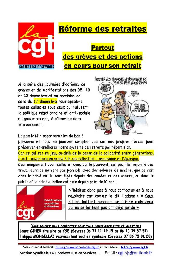 Sodexo Justice Services : Réforme des retraites – Partout des grèves et des actions en cours pour son retrait