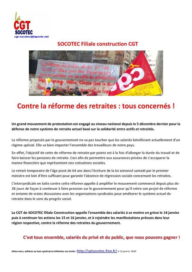 SOCOTEC : Contre la réforme des retraites : tous concernés !