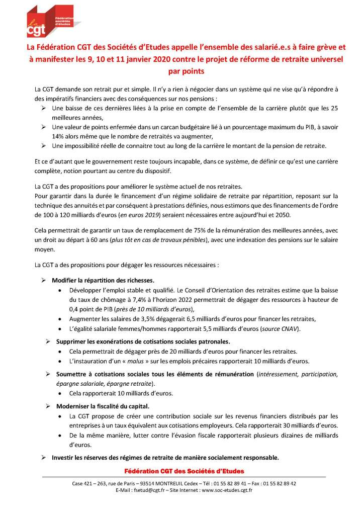 La Fédération CGT des Sociétés d'Etudes appelle l'ensemble des salarié.e.s à faire grève et à manifester les 9, 10 et 11 janvier 2020 contre le projet de réforme de retraite universelle par points