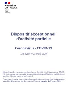 Dispositif exceptionnel  d'activité partielle: Coronavirus – COVID-19
