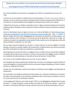 Impact de la crise sanitaire sur les entreprises de la branche des bureaux d'études Accompagnement par l'OPCO ATLAS pendant la période d'activité partielle