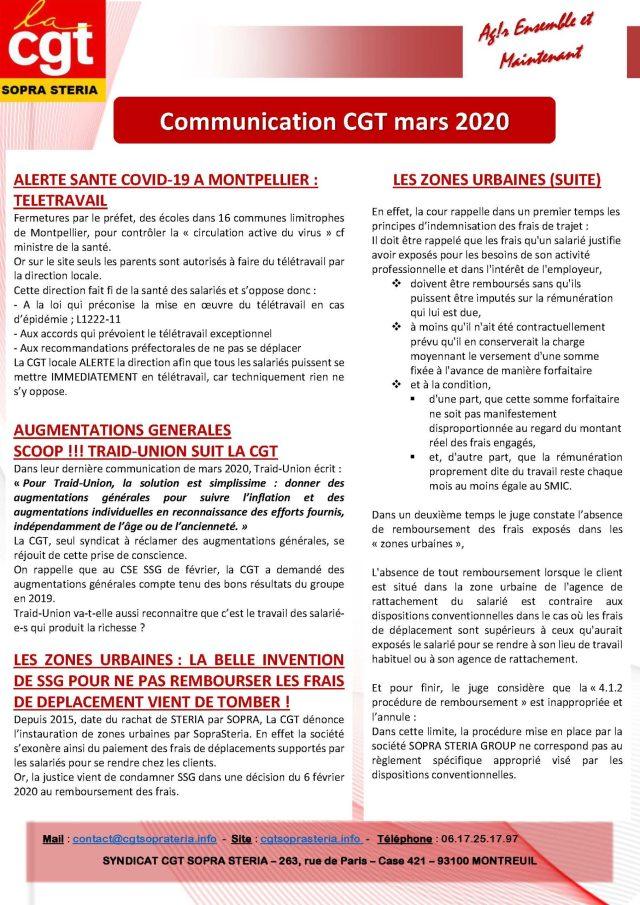SOPRA-STERIA : Communication syndicale CGT – Mars 2020