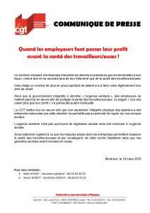 Quand les employeurs font passer leur profit avant la santé des travailleurs/euses !