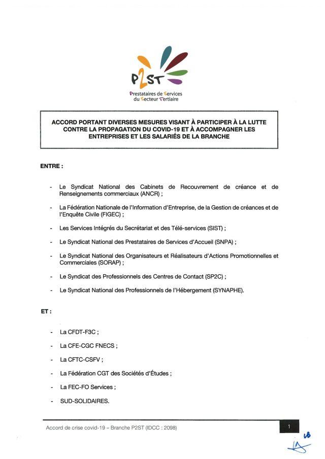 Accord portant diverses mesures visant à participer à la lutte contre la propagation du Covid-19 et à accompagner les entreprises de la branche