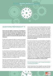 Coronavirus : Questions-réponses n°11