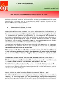 Note DLAJ sur l'ordonnance sur les services de santé au travail