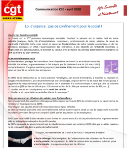 SOPRA-STERIA : Communication  CGT syndicale – avril 2020