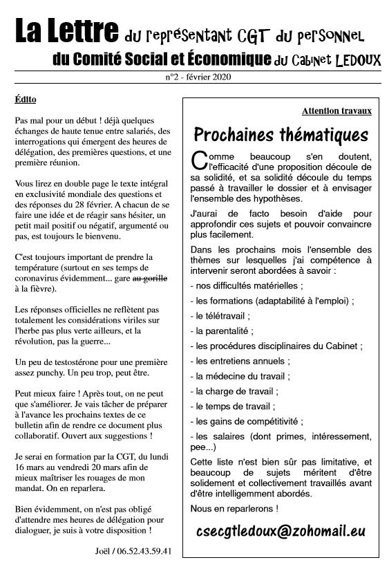 La Lettre du représentant CGT du personnel du CSE du Cabinet LEDOUX n°2 – Février 2020