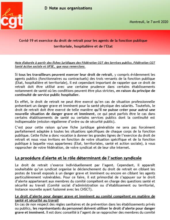Covid-19 et exercice du droit de retrait pour les agents de la fonction publique territoriale, hospitalière et de l'Etat
