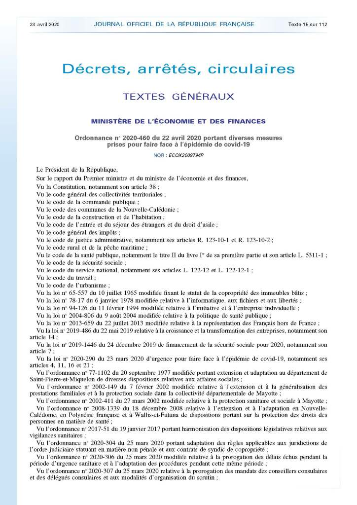 Ordonnance n°2020-460 du 22 avril 2020 portant diverses mesures prises pour faire face à l'épidémie de covid-19