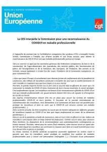 La CES interpelle la Commission pour une reconnaissance du COVID19 en maladie professionnelle