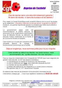 APAVE : Info groupe n°94 – Reprise de l'activité