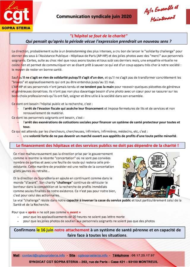 SOPRA-STERIA : Communication CGT syndicale – juin 2020